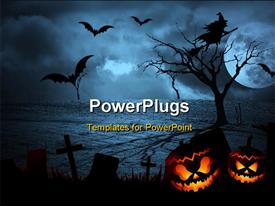 PowerPoint template displaying halloween dark scenery with naked trees, full moon and clouds in the background