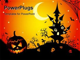This graphic is Halloween night. Illustration template for powerpoint