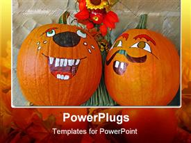 PowerPoint template displaying two Painted Halloween pumpkins with a bunch of flowers