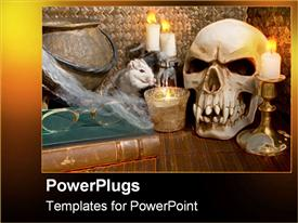 PowerPoint template displaying a collection of various materials for the celebration halloween