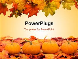 PowerPoint template displaying autumn fall colored leaves with pumpkins depicting Halloween scene