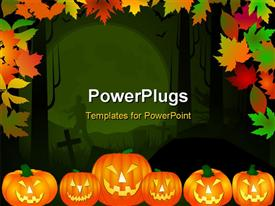 PowerPoint template displaying halloween theme background in multiple color leaves and pumpkins