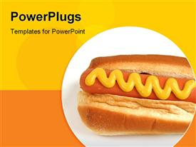PowerPoint template displaying yellow and orange background with hot dog in circle