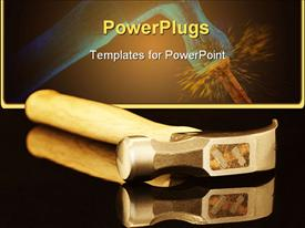PowerPoint template displaying hammer close up with wooden handle on black surfece