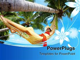 PowerPoint template displaying view of nice woman lounging in hammock in tropical environment in the background.