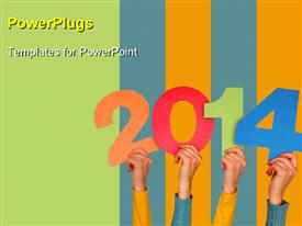 PowerPoint template displaying new year concept in the background.