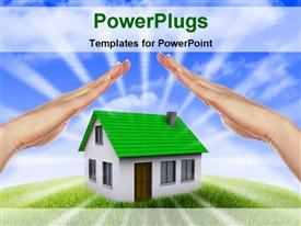 Human hand against blue sky background and house template for powerpoint