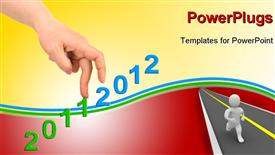 PowerPoint template displaying hand and stairs 2012