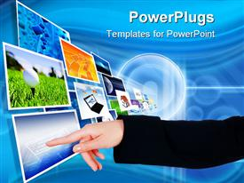 PowerPoint template displaying colorful screens with different depictions on them, flying in the air in one direction