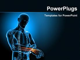 PowerPoint template displaying human anatomy depicting pain in wrist