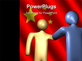 Abstract people shaking hands with Chinese flag powerpoint template