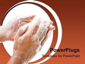 PowerPoint template displaying hygiene soap bar washing or cleaning human hand in the background.