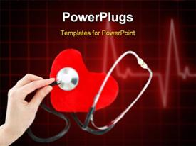 PowerPoint template displaying hand with stethoscope checking a red heart in the background.
