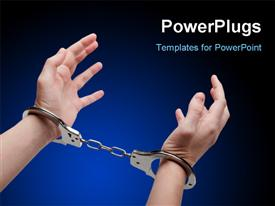 Police law steel handcuffs arrest crime human hand powerpoint design layout