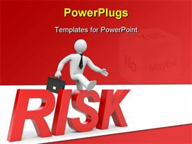 PowerPoint template displaying risk in the background.