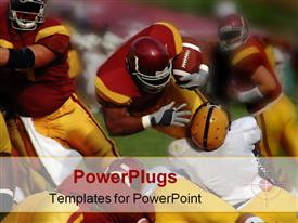 PowerPoint template displaying football match with fullback powering on for touchdown