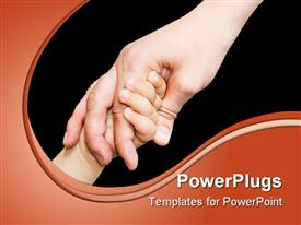PowerPoint template displaying close up of child's hand holding parent's hand