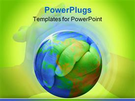 PowerPoint template displaying clasped hands behind globe on green background