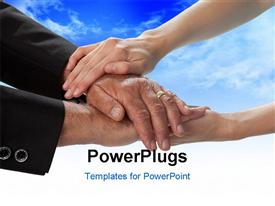 Close-up studio photo of two people hands embracing. White background powerpoint design layout