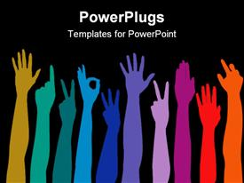 Hands of all races rainbow background powerpoint theme