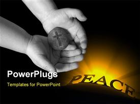PowerPoint template displaying rock solid strength of God is held in a child hands