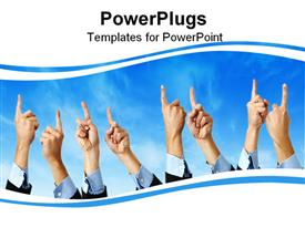 PowerPoint template displaying outline or frame of different hands pointing upward in the background.