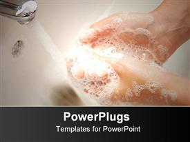 PowerPoint template displaying woman hands with soapsuds under running water washing hands in white sink