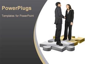 PowerPoint template displaying two people solving the puzzle and thanking each other