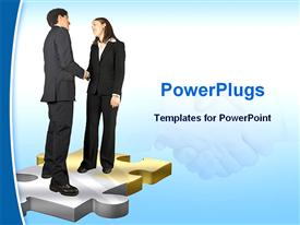 PowerPoint template displaying business couple shaking hands in the background.