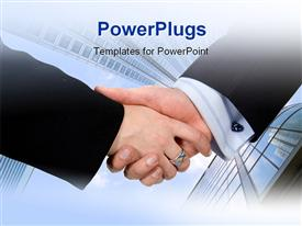 PowerPoint template displaying business deal - male and female in a corporate environment in the background.