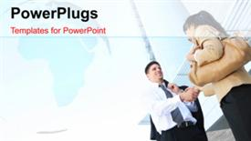 PowerPoint template displaying two professionals with a bluish background - widescreen format