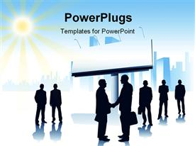 PowerPoint template displaying blank signpost and sun shining overhead with handshake between businessmen