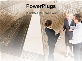 PowerPoint template displaying business personnel's discussing and shaking hands beside skyscrapers