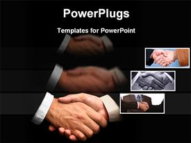 PowerPoint template displaying business persons are shaking hands in the background.
