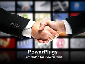 PowerPoint template displaying two business men in suits shaking hands in colorful background
