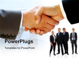 PowerPoint template displaying businessmen shaking hands keyboard and pen and paper in the background
