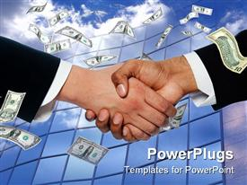 PowerPoint template displaying a professional handshake with a number of dollars showering upon it