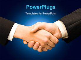 Conceptual photo of business people hands making an agreement powerpoint template