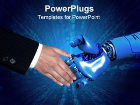 PowerPoint template displaying conceptual hand shake between a business man and a robot. Close up shot a against a white background