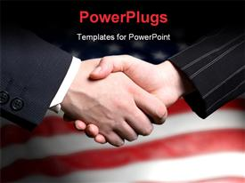 PowerPoint template displaying hand shake and a American flag in background