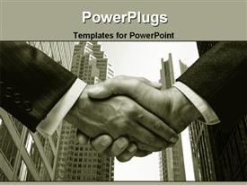 PowerPoint template displaying black and white depiction of two business man shaking hands with city scenery skyscrapers in the background
