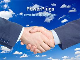 Hands meeting together for business deal powerpoint design layout