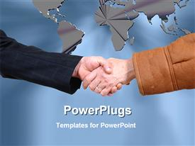 Hands are meeting together for business deal powerpoint design layout
