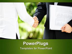 PowerPoint template displaying handshake between businessman and businesswoman in a meeting