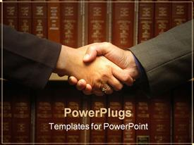 PowerPoint template displaying pair hands clasped in front of old law books