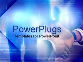PowerPoint template displaying two business men shaking hands on a blurry background