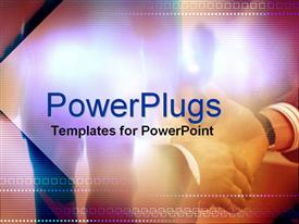 PowerPoint template displaying a hand shake with colorful background and place for text