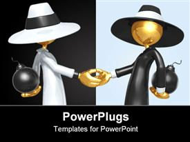 PowerPoint template displaying handshake Concept And Presentation Figure In 3D
