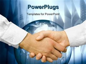 PowerPoint template displaying two business men shaking hands with a large globe behind them