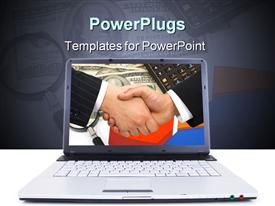 PowerPoint template displaying high tech laptop with handshake on screen